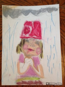 A picture of Kamberly, age 7, wearing a hat that looks not unlike a fez, or a bucket. :)